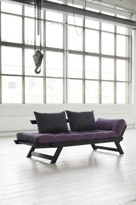 BEBOB sofa frame black lacquered. including Futon mattress and 2 pillows. manufactures of Karup Design