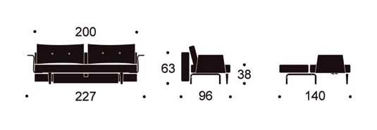 RECAST SOFA MED ARMS SIZE IN CENTIMETER