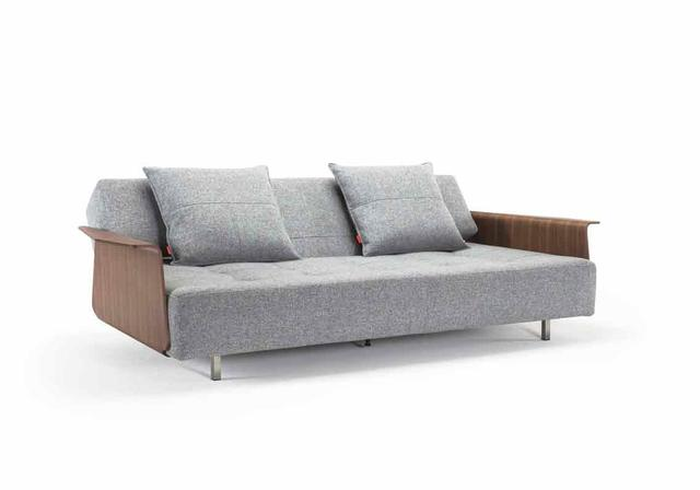 Innovation Living LONG HORN EXCESS SOFA. Dess.565 Twist Granite. Long Horn is a lounge style sofa bed with a unique design. The sofa is equipped with an excessive thick Pocket Spring mattress to ensure maximum comfort. Stainless steel legs & castors.