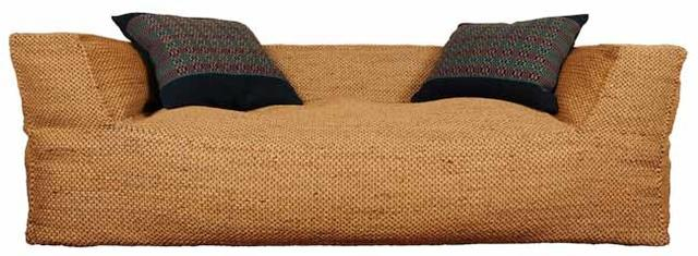 Sofa made of woven water hyacinth.