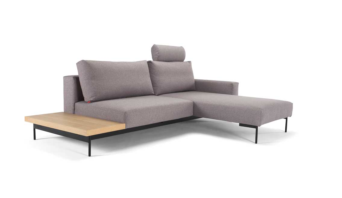 Bragi sofa 1 arm 1 bord lysegraa 217 vendbar kr for One armed couch name