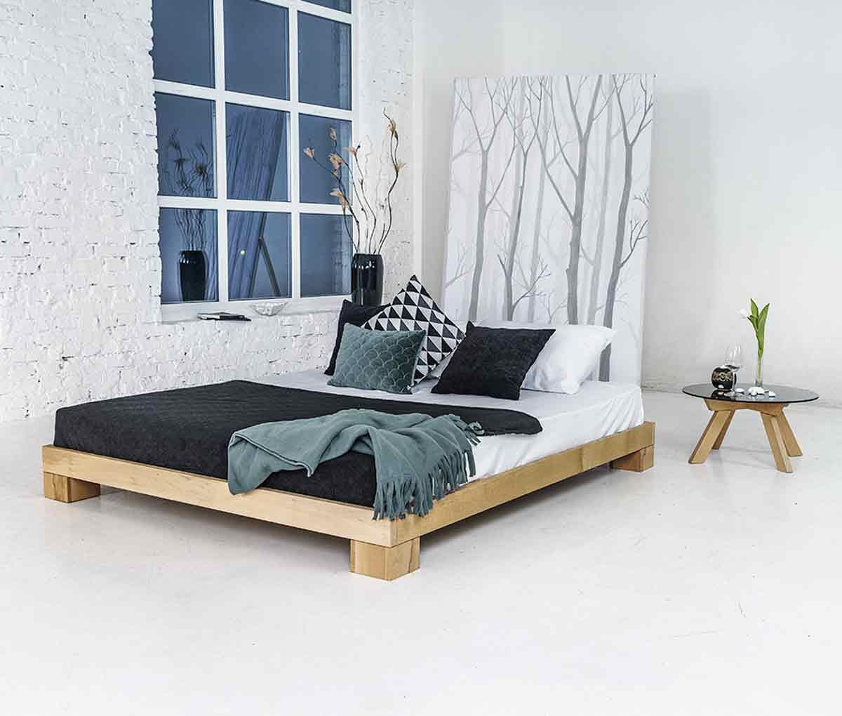 Picture of: Cube Bed Frame 120×200 Solid Beech 4 120 00 Dkk